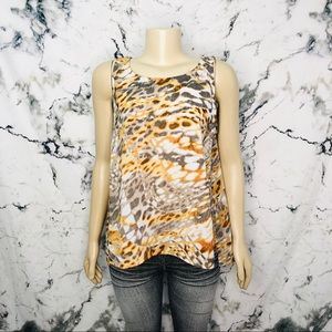 💜3/$25💜 Abstract Animal Draped Sleeveless Blouse